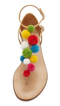 Aquazzura Pom Pom Flat Sandals