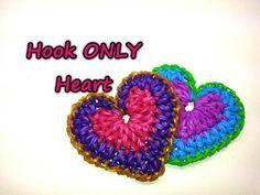 Hook ONLY Heart Tutorial by feelinspiffy (Rainbow Loom) - Knitting Story Rainbow Loom Tutorials, Rainbow Loom Patterns, Rainbow Loom Creations, Rainbow Loom Bands, Rainbow Loom Charms, Rainbow Loom Bracelets, Beaded Bracelets, Loom Love, Fun Loom