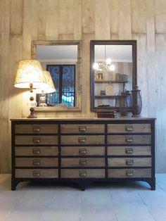 Cómoda rústica en hierro y madera Industrial Interior Design, Room Ideas, Cabinet, Living Room, Storage, Furniture, Home Decor, Home, Tv Sets