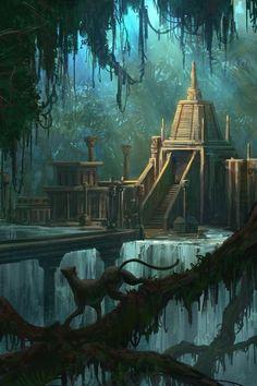 44 Ideas for fantasy landscape art atlantis Fantasy City, Fantasy Places, Sci Fi Fantasy, Fantasy World, Fantasy Artwork, Fantasy Concept Art, Fantasy Landscape, Landscape Art, Jungle Temple