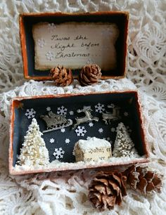 Hello my dear friends, today I am sharing a little creation with you that I made this last weekend. I had bought a little box full of older . Christmas Scenes, Noel Christmas, Little Christmas, All Things Christmas, Vintage Christmas, Christmas Ornaments, Christmas Projects, Holiday Crafts, Christmas Shadow Boxes