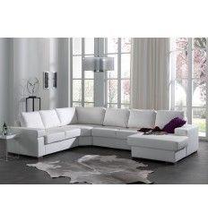 Canapé d'angle avec méridienne, simili cuir blanc