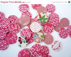 ON SALE Pink Mix Silk Kimono Sticker Adhesive  Set by tomoandedie