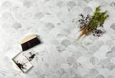 Mosaic Sweden F0001 Marmor Carrara Fiskfjäll 6,5x7,8 cm Carrara, Ark, Sweden, Abstract, Artwork, Bathroom, Kitchen, House, Mosaic