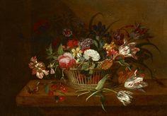 Jacob Marrel (1614-1681),Corbeille de fleurs posée sur un entablement avec papillon et insecte.Photo Massol SVV