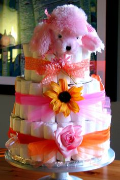 How to make a 3 tiered Diaper Cake - great baby shower gift!