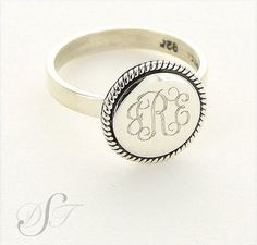 Sterling Monogram Ring - Sterling Braided Round Ring: 14 Other Styles - Trendy Monogram Jewelry on Etsy, $62.00