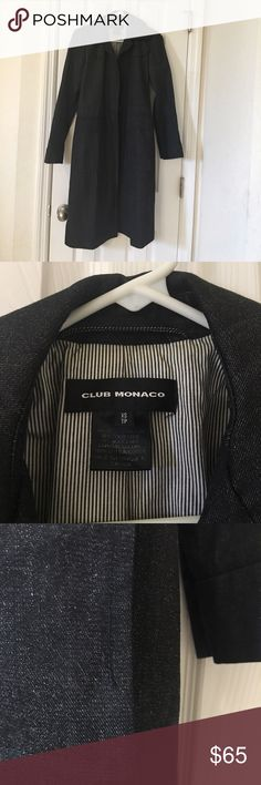 Club Monaco black denim trench. Club Monaco black denim trench. Size XS.  Has only been worn a few times but in the process of moving I misplaced the belt:(.  There's also a small mark on the interior (see pic) and a small section of the seam at the pocket is up but not noticeable and an easy fix (see pic).  Obviously price is greatly reduced.  It's still a beautiful jacket and retails for $329. Club Monaco Jackets & Coats Trench Coats