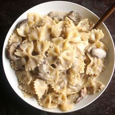 This creamy mushroom pasta is quick and easy with just a few ingredients - the perfect dinner for busy nights when you haven't had time to grocery shop!