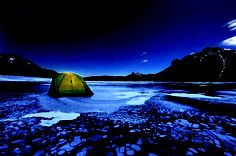 Camping on the ice at Abraham Lake in western Alberta