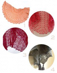 4 beaux modèles de châle dentelle au tricot à télécharger gratuitement sur Ravelry, en Français s'il vous plaît !