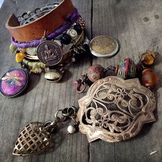 Gypsy steampunk bangle set with charms trade beads by quisnam, $65.00