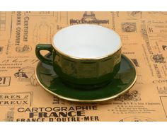 Green empire bistro Teacup - Tasse à thé bistrot vert empire - Apilco - Made in France