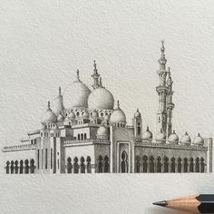 Drawing Mosque Pencil - Love This Pencil Drawing Of Abu Dhabi S Spectacular Sheikh Zayed Pencil Drawing Jama Mosque Photorealistic Art By Artist How To Draw Mosque Step By St. Abu Dhabi, Mosque Architecture, Architecture Sketches, Building Drawing, Building Sketch, 3d Drawings, Drawing Faces, Drawing Art, 3d Drawing Tutorial