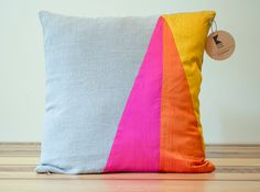 Neon Triangles Geometric Silk and Linen Pillow  18 door KissenStudio, $60.00