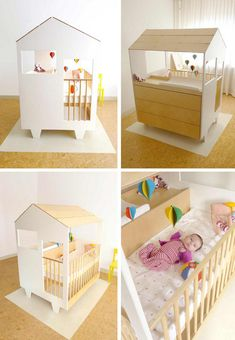 so cool: crib, changing table, dresser, and play pen all made to look like a little house
