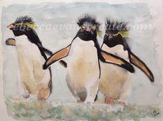 P-P-P -Penguin  Watercolour Rebeccaevanscreate.com