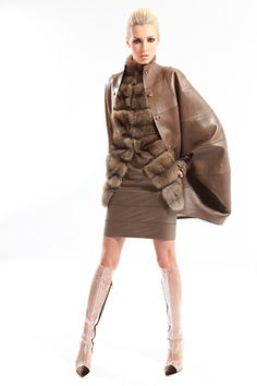 Creamy bandaged skirt topped with tiered fur and caped with leather. Beyond delicious. Chado Ralph Rucci. Fall/Winter 2012. NYFW