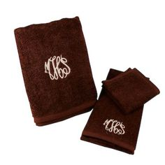 Monogrammed Cotton Terry Towels - Graduation, Wedding or Shower gift idea - comes in white, beige and brown (perfect for guys)!