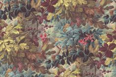 Imagine spring, summer and fall all at once and you'll get this rich and luxurious bouquet. Oak leaves, raspberries and rhododendron leaves together form a powerful floral expression. Rebel, Rhododendron, Bouquet, Oak Leaves, Motif Floral, Home Wallpaper, Paper Dimensions, Custom Wall, Ink