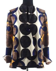 df1fc4749 Joseph Ribkoff Asymmetrical Jacket Navy Black Gold Brown Circles One Button   JosephRibkoff  Jacket