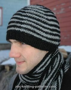 ABC Knitting Patterns - Shadow Knitting Hat  For the hubby : )