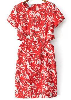 Shop Red Melon Short Sleeve Leaves Print Midriff Dress online. SheIn offers Red Melon Short Sleeve Leaves Print Midriff Dress & more to fit your fashionable needs.