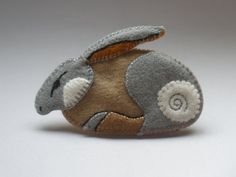 Felt brooch HARE  hand embroidered/original by foxowlroad on Etsy, $50.00