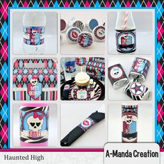 Haunted High Printable Party Bundle. 29 different prinables included (With multiple designs from each one!) Super cute way to decorate your Monster High Birthday party!