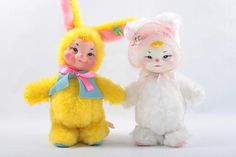 Lot Rushton Plush Bunnies Yellow and White Bunny Costumes Easter Holiday Toys Soft Bodies Plastic Faces  The Pink Room  161202 by ThePinkRoom