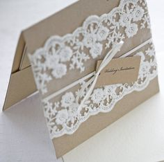 Rustic Lace wedding invitations pocketfold Great style. Love the idea of this in dove grey with white lace and tiny pink accents....