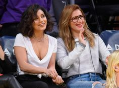 BFF's!  The actresses enjoy a basketball game between the Detroit Pistons and the Los Angeles Lakers at Staples Center in Los Angeles.