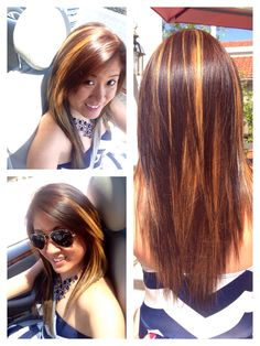 Honey brown hair with golden highlights