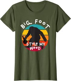 Amazon.com: Bigfoot Stole My Marijuana/Weed Sci-Fi Graphic Vintage 420 T-Shirt: Clothing Weed Humor, Bigfoot, Edgy Outfits, Shirt Price, Funny Tees, Graphic Shirts, Branded T Shirts, Just Go, Retro Fashion