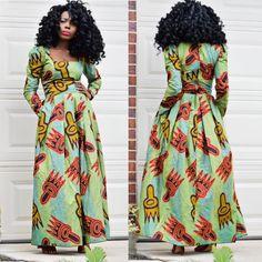 African Clothing Maxi Dress Ankara Print, Maxi Dress African Print, Women Dress…