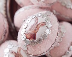 Easter Bunny Egg - Pink Spun Cotton Easter Egg Decoration