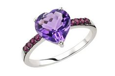 2 3/8 Carat Amethyst & Ruby 14K White gold Ring w/Black Rhodium - $295.00 via CountMeInApp - Social Gifting Made Easy