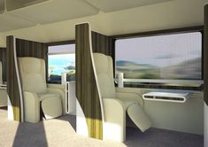 First Class 1 by 1 seating layout with partitions, blinds and mood lighting.  Source - Yanko Design