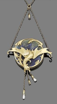 An art nouveau gold, enamel and pearl pendant necklace, circa 1900 The circular locket with applied blue and green enamel, overlaid with a gold repoussé dragon in flight, suspending pearl drops, the reverse engraved with the monogram 'AW', concealing a glazed compartment with hairwork, mounted in gold, to a trace-link chain