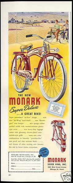 Monark Red Tan Super Deluxe Bike Bicycle (1948)
