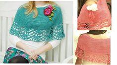 Wonderful Poncho in Crochet blue Yarn with Pattern Poncho Au Crochet, Crochet Cape, Knitted Shawls, Knit Crochet, Crochet Projects, Crochet Patterns, Elegant, Knitting, Lace