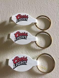 219b894e9baa3 Lot of 3 Coors Light Beer Bottle Opener Key Chain Ring White Coors Light