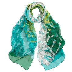 If you don't have a green thumb, you can also tie the trendy Monstera deliciosa around your neck. It's therapeutic, and it has a positive effect on you. Monstera Deliciosa, Wool Scarf, Cashmere, Scarves, Spring Summer, Tie, Green, Accessories, Collection