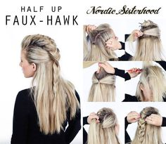 The half up shield maiden faux hawk prepare for battle! more trendy wedding hairstyles with braids to the side faux hawk viking braids weddinghairstyleswithbraids hairstyles wedding weddinghairstyleswithbraidsfauxhawk weddinghairstyles Fishtail Hairstyles, Pretty Hairstyles, Braided Hairstyles, Wedding Hairstyles, Faux Hawk Hairstyles, Pirate Hairstyles, Viking Hairstyles, Hairstyle Braid, Mohawk Braid