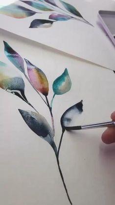 Watercolor Beginner, Watercolor Art Lessons, Watercolor Paintings For Beginners, Watercolor Techniques, Watercolor Painting Tutorials, Easy Watercolor Paintings, Watercolor Pictures, Watercolor Leaves, Watercolor Flowers Tutorial