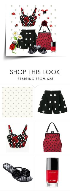 """""""lady bug dots"""" by beeblecat ❤ liked on Polyvore featuring Magnolia Home, Boutique Moschino, Moschino, Dorothy Perkins and Chanel"""