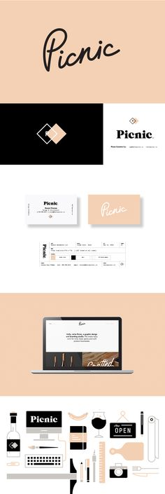 Picnic Creative Office — 2017 logo and branding. Custom script typemark, double diamond secondary logo, custom icons and look & feel applied all the way down to the production slug. #logo #branding #identity #pink