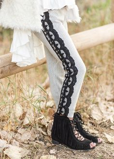 Look at this Black & White Valentine Lace-Trim Leggings - Kids & Tween on today! Bohemian Kids, Lace Leggings, Cute Outfits For Kids, Little Girl Fashion, Boys Shoes, Lace Trim, Feminine, Black And White, Toddler Girls