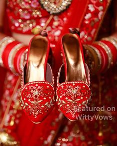 M💗R | Real bride Meghna Sadhwani is the ultimate Bridechilla | Personalised bridal shoes | Customized red shoes with embroidery | Wedding shoes | Wedding shoes with embroidery and embellishments | Personalized wedding shoes | Bridal heels | Real Indian brides | Bridal swag | Wedding photography | Featured on WittyVows | Best Bridal Shoes, Bridal Sandals, Wedding Shoes, Indian Shoes, Bride Shoes, Bridal Accessories, Girls Shoes, Fashion Shoes, Personalized Wedding