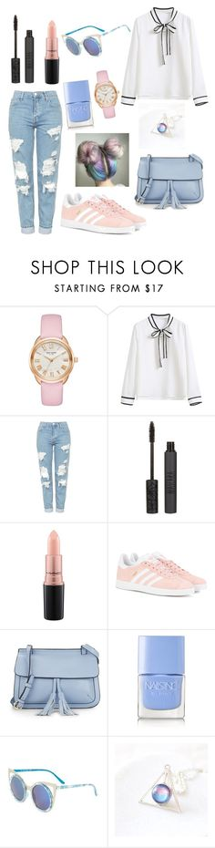"""""""Something 😜"""" by blackeupinkeu ❤ liked on Polyvore featuring Kate Spade, WithChic, Topshop, MAC Cosmetics, adidas Originals, KC Jagger and Nails Inc."""